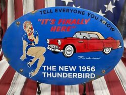 Vintage 16andrdquox11andrdquo 1956 Thunderbird Old Cars Gasoline Porcelain Gas And Oil Sign