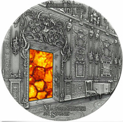 Fiji 2015 10 Amber Room Masterpieces In Stone 3 Oz Antique Finish Silver Coin