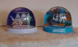 U. S. Cities Vintage Snow Globes Domes Set Of 2 Plymouth And Jamestown