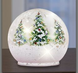 Large Christmas Lighted Glass Ball With Xmas Trees Col M24