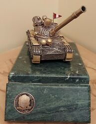 Peruvian Silver Filigree Military Tank With Soldire And Flag With Marble Base