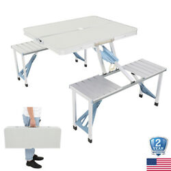 Picnic Table + 4 Seat Chair Portable Foldable Suitcase Outdoor Bbq Party Camping