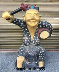71cm Old China War Han Dynasty Bronze Ware Painting Gold People Drumming Statue