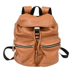 Coach Leather Drawstring Backpack Day Pack Hand Bag Brown Silver Unisex