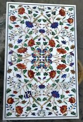 Multi Gemstones Inlay Work Kitchen Table Top Marble Dining Table 36 X 60 Inches