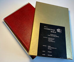 Vintage Cambridge Holy Bible Turquoise Print Red Calfskin Binding Boxed