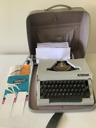 Antique Vintage Aztec 15 Type Writer W/ Leather Carrying Case Works Nicely