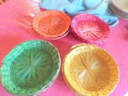 12 Vintage Woven Plate Holders Set Of 4 Wicker Boho Picnic Fits 8-8.5