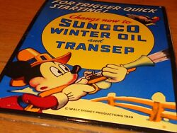 Vintage 1939 Sunoco Mickey Mouse Hunting 16 Porcelain Metal Gasoline And Oil Sign