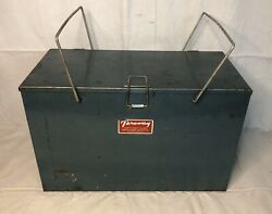 Vintage Metal Preway Camp And Picnic Ice Box Cooler Prentiss Waber's Wisconsin