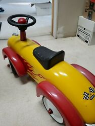 Preowned Schylling Red Metal Speedster Car Classic Ride On Toy
