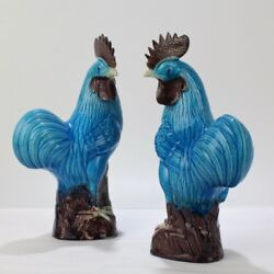 Pair 2 Old Or Antique Blue Chinese Pottery Rooster Or Cockerel Figurines - Pc
