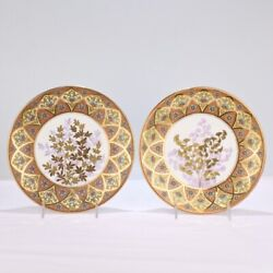 Derby Porcelain Aesthetic Period Gilt And Enameled Botanical Cabinet Plate Pair Pc