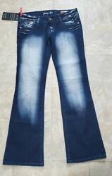 Crazy Age Young Age Womenand039s Blue Distressed Embroidered Bootcut Jeans Stretch
