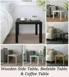 Side End Table Wooden Patio Coffee Tables Square For Indoor Outdoor Black White