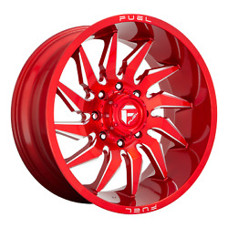 22 Inch 8x165.1 4 Wheels Rims 22x10 -18mm Candy Red Milled Fuel 1pc D745 Saber