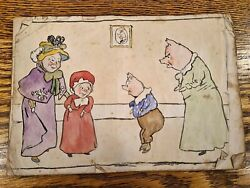 Charming Edwardian Childs Homemade Storybook - Original Rhymes And Sketches C.1905