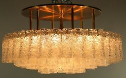 Vintage Doria Flush Mount Glass Tube Chandelier 97 Glass Parts Mcm 1950and039 - 60and039s