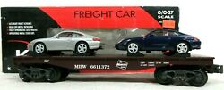 K-line K661-1372 Milwaukee Road Classic Flat Car With 2 Porsche 996 Load Boxed