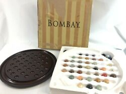 Vintage 1994 Bombay Company Solitaire Marble Board Game Wood 44 Marbles