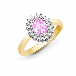 9ct Gold Diamond Pink Sapphire Classic Royal Cluster Ring 11mm