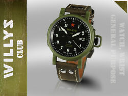 Jeep Willys Military Army Swiss Automatic Watch Limited Edition Su Soviet Russia