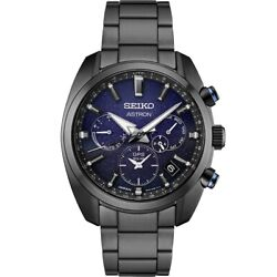 Seiko Astron Solar Gps Blue Dial Black Pvd Stainless Steel Watch Ssh077
