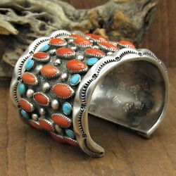 Massive Vintage Sterling Silver Coral And Turquoise Cuff Bracelet