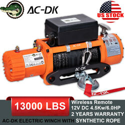 Ac-dk 13000lbs Electric Winch 12v Synthetic Rope 4wd Waterproof Truck Trailer