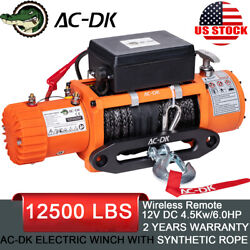 Ac-dk 12v Electric Winch 12000lb Waterproof Ip67 With Synthetic Rope For Offroad