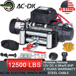 Ac-dk 12v 12000 Lb Electric Winch Steel Cable Towing Truck Trailer Jeep 4wd Ip67