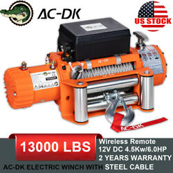 Ac-dk 12v 13000lbs Electric Winch Steel Cable Off-road Jeep Truck Towing Trailer