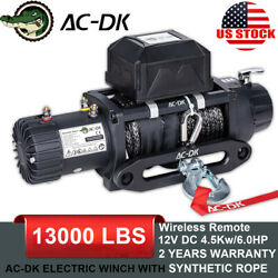 Ac-dk 12v 13000lbs Electric Winch Ynthetic Rope Towing Truck Trailer Jeep 4wd