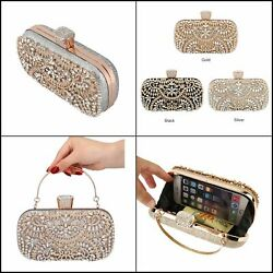 Womenand039s Diamond Evening Clutch Bag Wedding Golden Purse With Metal Handle Zd1397