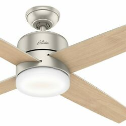 Hunter Fan 54 In Contemporary Matte Nickel Ceiling Fan With Light Kit And Remote