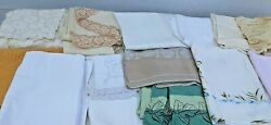 13-vintage Lot Tablecloths Linens Lace Floral Table Runners Place Settings