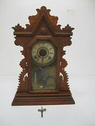 Antique Ingraham Gingerbread Mantle Mantel Clock Wooden Reverse Painted As Is