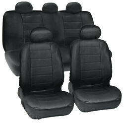 For Ford Mustang Black Leather Auto Seat Covers Full Set Car Cover
