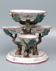 Antique French Faience Veuve Perrin Vp Sweetmeat Stand - Twig Branches Acorns Pt