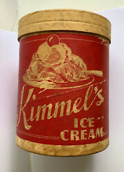 Vtg Kimmel's Dairy Ice Cream Sundae Paper Carton Container Lid Valley View Pa