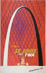 Original Vintage Poster St. Louis Fly Twa Up Up And Away Airline Travel Klein And03960s