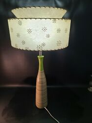 Vintage Retro Round Lamp With Two Tier Atomic Mcm 50s Fiberglass Lamp Shade