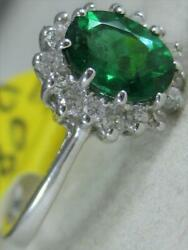 Modern 1.08ctw Diamond Emerald 18kt White Gold Oval Halo Cocktail Ring E1368.22