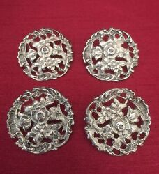 Antique Set Of 4 Sterling Silver Buttons By Deakin And Francis Bandrsquoham 1902. Rare