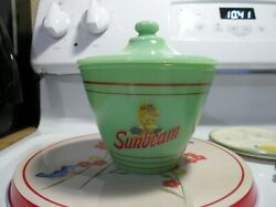 Jadeite Green Glass Sunbeam Bread Grease Jar And Lid In Excellent Condition