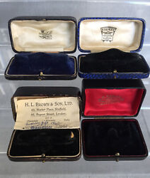 Lot 4 Antique Vintage Ladies Watch Presentation Gift Boxes Fitted Velvet And Silk