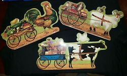 Prize Winning Promenade Plate Set Of 3 Charles Wysocki. Cow Goat And Rooster