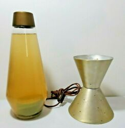 Vintage 17 1970's Yellow Liquid Lava Lamp With Gold Light Base