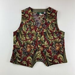 Orvis Vintage Tapestry Vest Fruit Floral Made In USA Womens Size Medium