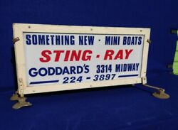 Vintage Original 1960and039s Sting Ray Boat Advertising Sign Double Sided Outboard